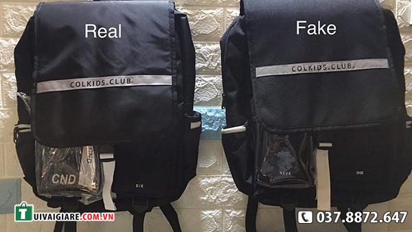 Phan biet Balo Colkis Club hang real va fake
